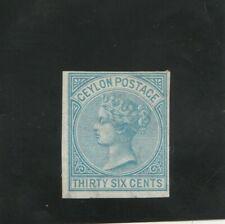 CEYLON 1872 CLASSICIMPERF PROOF SG 129 36 CENTS BLUE VF MINT  CERTIFIED WMK PAPE