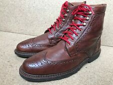 Allen Edmonds LONG BRANCH boots Brown Leather Wing Tip 12 D