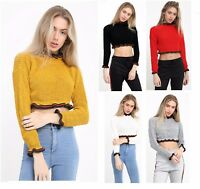 UK Ladies Womens Cropped Jumper Knitted Stripe Ruffle Frill Hem Long Sleeve Top