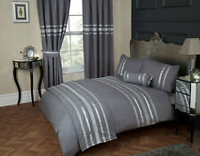 KING SIZE DUVET COVER SET GLITZ METALLIC GREY SILVER TRIM 200 TC 100% COTTON