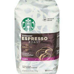2 pack Starbucks Whole Bean Coffee, Espresso Roast Dark40 oz  each 03/2020