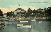 Brunswick Maine~New Meadows Inn~Waterfront Boats~Stairs to Docks~1912 Postcard