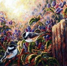 "John Mcfaul ""Sweet Treat"" Chickadee & Berries Print 12"" x 12"""