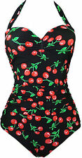Retro Vintage Cherry Anchor Print One Piece Swimsuit Pin Up Monokinis Black NEW