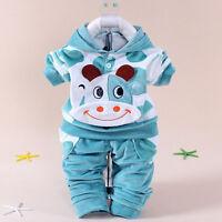 2pc Kids Baby Boys Outfit Warm Fleece Coat Pant Sports Infant Winter Clothes Set