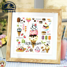 Summer desserts ice cream fruits finished cross stitch xmas gift handicrafts