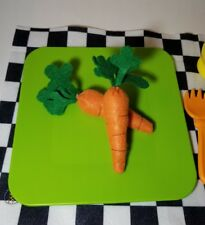 Felt pretend food - CARROT SET - embroidery - handmade