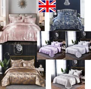 Luxury Jacquard Silk Satin Duvet Quilt Cover 3 PCS Bedding Set Double King Size
