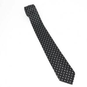 Umo Lorenzo Mens Tie Necktie Black White Polka Dot Woven Microfiber Italy Short