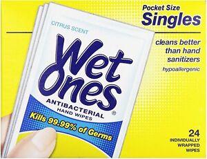 Wet Ones Wipes Hands & Face Antibacterial Citrus Scent Singles 24 ct, 1 Pack