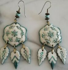 VINTAGE HAND MADE CERAMIC EARRINGS SIGNED BY ARTIST  NATIVE AMERICAN DROP DANGLE