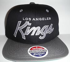 Los Angeles LA Kings Authentic Black / Grey Script Snapback NWT Hat Zephyr Cap