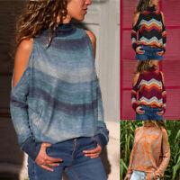 Plus Size Women Cold Shoulder Blouse Tops Ladies Round Neck Striped Sweatershirt