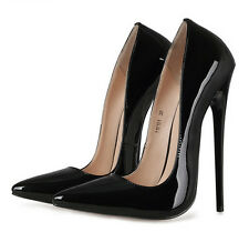 Women Super High Heel 16cm Stiletto Patent Leather Pumps Party Pointy Toe Shoes