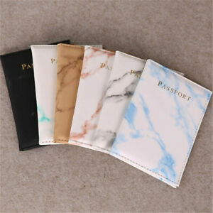 Marble Passport Holder Cover PU Leather Travel ID Wallet Credit Card Case Unisex