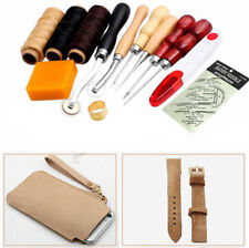 13Pcs Leather Craft Hand Stitching Sewing Tool Thread Awl Waxed Thimble Kit USA