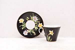 Aynsley England Daffodils on Black Tea Cup and Saucer Vintage
