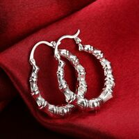 SMALL BAMBOO HOOP EARRINGS GOLD PLATED 1.25 INCH OR SILVER SURGICAL STEEL POSTS