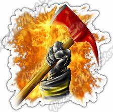 """Firefighter Glove Axe Flame Fire Fighter Car Bumper Vinyl Sticker Decal 4""""X5"""""""