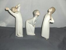 3 Lladro 1977 Girls 1 Boy 1974 Stretching Bisque Porcelain #4872 & 4870 Spain