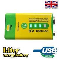PP3 9V 1200mAh USB Rechargeable Li-Ion Battery OTG Phone Power Bank Charger
