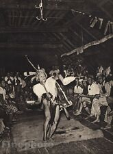 1940 Vintage BORNEO Kenyah MALE DANCER Feather Costume Dance Art Photo K.F. WONG