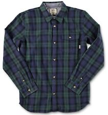 Vans Boys Lachlan Long sleeve Button Up Green Gables/ Dress Blues Boys SZ M New!