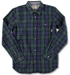 Vans Boys Lachlan Long sleeve Button Up Green Gables/ Dress Blues Boys SZ XL New