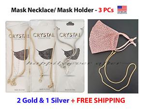 3 PCs Face Mask Necklace, Mask Holder, Mask Strap, 2 Gold & 1 Silver *US SELLER*