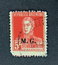 Republic of Argentina 5 Cent Stamp with Overprint of M. G.,  circa 1920s