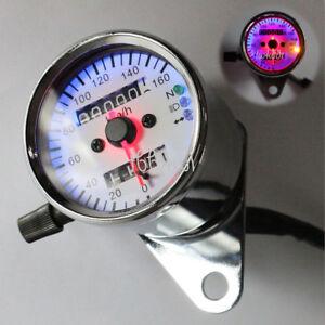 LED Dual Odometer Speedometer Gauge For Yamaha Kawasaki Honda Suzuki Bike Cafe