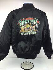 Vintage Black Satin Baseball Jacket Coat Biker Size Large Mens