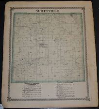 Original 1875 Map of  Scottville Township Illinois 18.5x15.5 inch