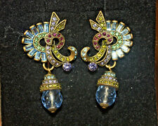 NWT Heidi Daus Earrings Light Blue Crystals with Drop Dangle 1 3/4""