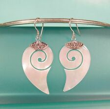"""1 1/2"""" Mother of Pearl Shell Pure 925 Bali Sterling Silver Handmade Drop Earring"""