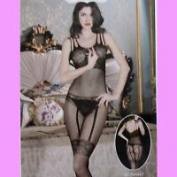 Super Netz Bodystocking, Strapsoptik, Catsuit, Body, Dessous, schwarz, Gr. S- L