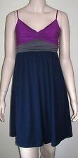 DELIAS Color Block Spaghetti Strap Dress Sundress Size M Navy Purple Gray