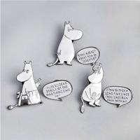 6pcs/set Cartoon Hippo Dialogue Enamel Pins Badges Brooches Badges Lapel