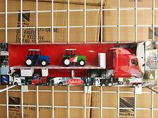 1/32 NEW RAY PETERBILT SEMI MODEL 389 FLATBED W/ FARM TRACTORS