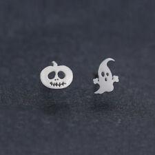 Cute Pumpkin Halloween Ghost Ear Silver Stud Dangle Hoop Drop Earrings Jewelry