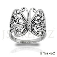 Solid 925 Sterling Silver Filigree Butterfly Mariposa Ring Size 6 7 8 9