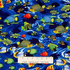Nautical Fabric - Life's a Beach Tropical Fish Ocean Blue - Benartex Kanvas YARD