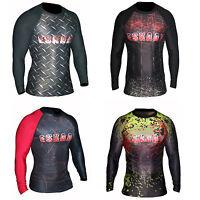 Mens Sublimated Long Sleeve Rash Guard Gym Running Swim Sweat Shirt Compression
