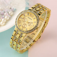 GENEVA Women Lady Full Stainless Steel Band Quartz Wrist Watch Crystal Gift