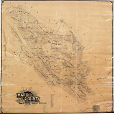 1892 Map Marin County California Wall Poster Land Ownership History Genealogy