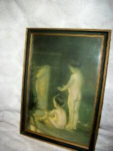 19th C. AFTER THE BATH PRINT NUDE CHILDREN FIREPLACE PAUL PEEL ANTIQUE FRAME