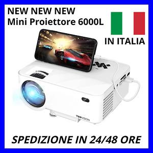 ✅TOPVISION Mini Proiettore 6000 Lumen Full HD 1080P HDMI/AV/USB/SD/VGA ⭐⭐⭐⭐⭐