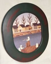 OVAL NAUTICAL SEAGULL COUNTRY WOOD FRAMED PICTURE PRINT GLASS BEACH DECOR