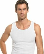 3 Men White Tank Top 100% Cotton A-Shirt Wife Beater Ribbed Undershirt S-2XL