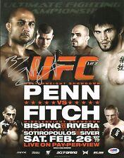 BJ Penn Michael Bisping Signed UFC 127 Poster 11x14 Photo PSA/DNA COA Autograph